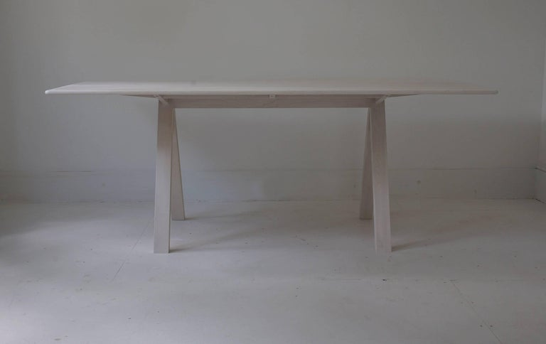 Spectral Dining Table / Bleached Maple Minimal Modern Trestle Table or Desk In New Condition For Sale In Kingston, NY