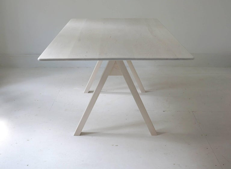 Spectral Dining Table / Bleached Maple Minimal Modern Trestle Table or Desk For Sale 1
