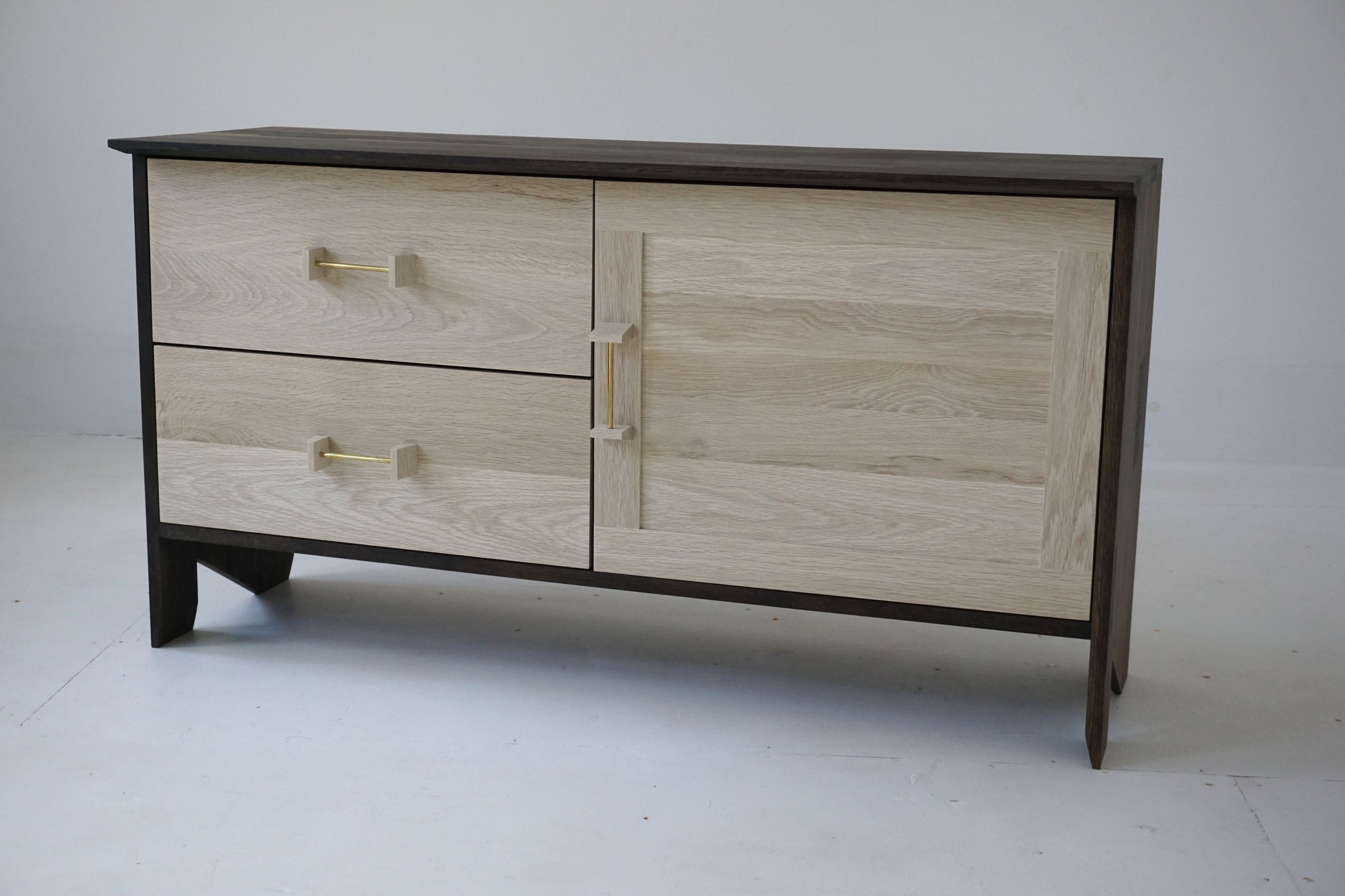 Phoebe Credenza Modern Sideboard In Bleached And Oxidized White Oak