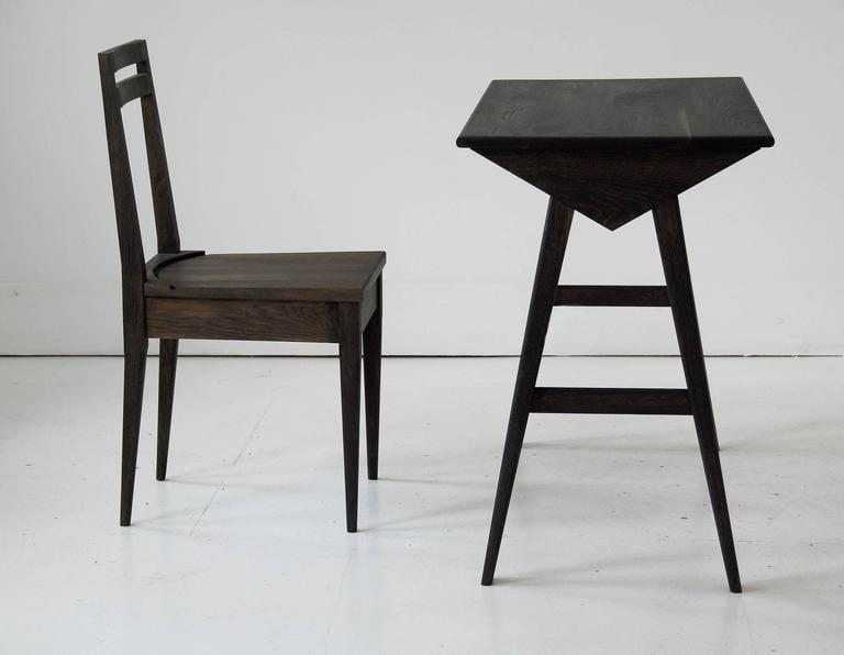 Blackened Astral Desk in Oxidized White Oak, Modern Writing / Computer Table For Sale
