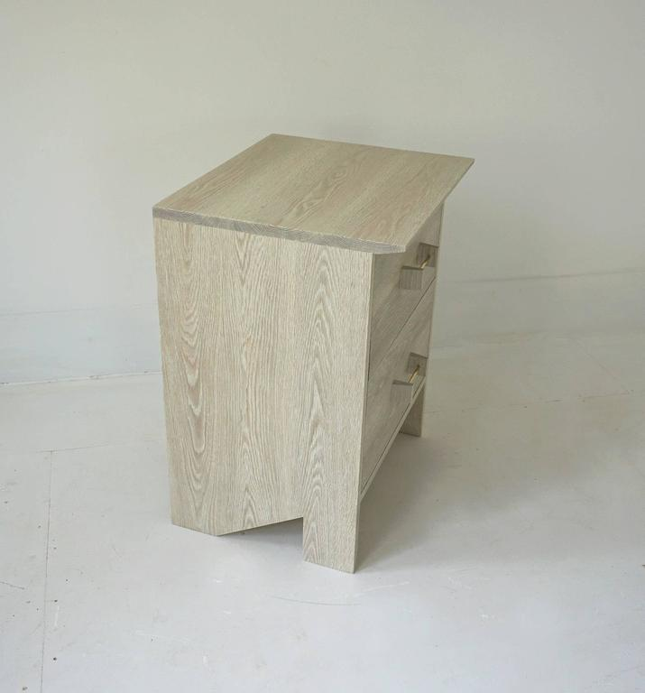 Organic Modern Phoebe Side Cabinet in Bleached Oak Modern Handcrafted End/Side Table Storage For Sale