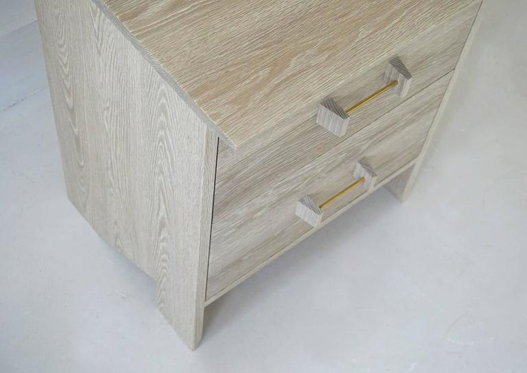 American Phoebe Side Cabinet in Bleached Oak Modern Handcrafted End/Side Table Storage For Sale