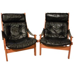 Black Leather Hunter Chair of Torbjørn Afdal Bruksbo, Norway