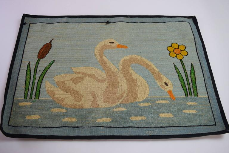 20th Century Folk Art Hooked Mat of a Pair of Swans For Sale