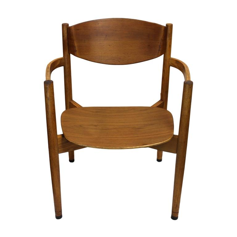 Laminated Set Of Six Vintage Mid Century Modern Stacking Chairs By Jens  Risom For Sale