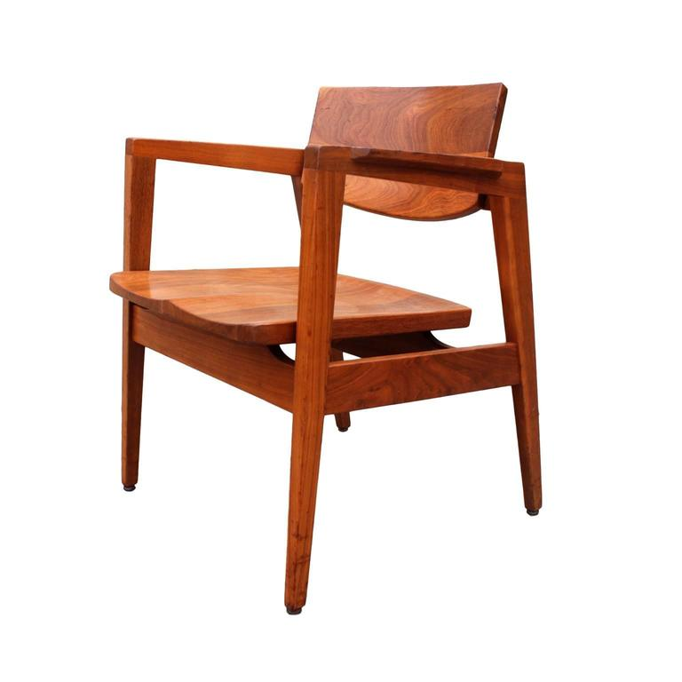 Set Of Four Mid Century Walnut Modern Armchairs By
