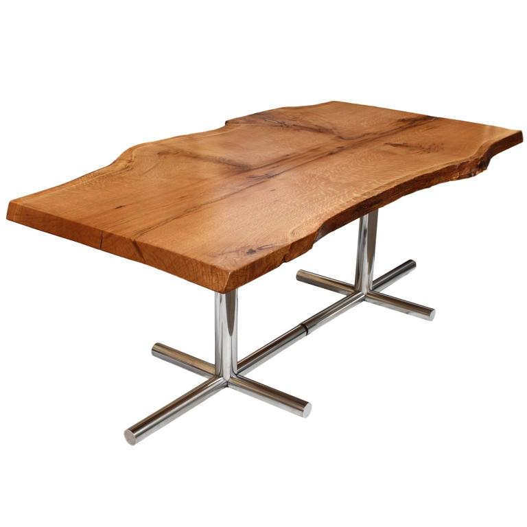 Solid Live Edge Oak Dining Table With Vintage Mid Century Modern Chrome Legs For