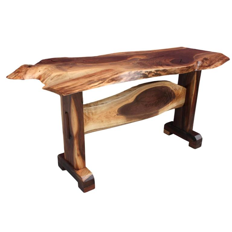 Amazing Live Edge Walnut Slab Trestle Console Table For Sale