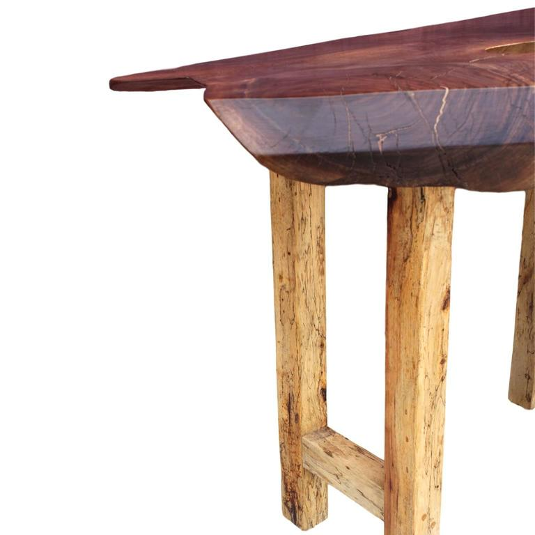 Adirondack Rustic Free Edge Slab Table For Sale At 1stdibs: Live-Edge Walnut Slab Top Console Table With Spalted Maple