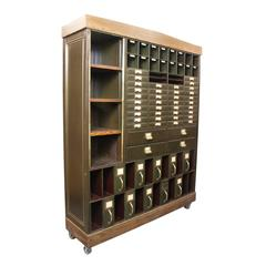 Re-Imagined 1920s Industrial Steel Courthouse File Cabinet Wall Unit