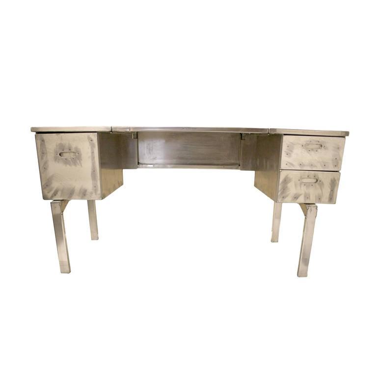 American Vintage Industrial Mid-Century Modern Aluminum Folding Desk For Sale