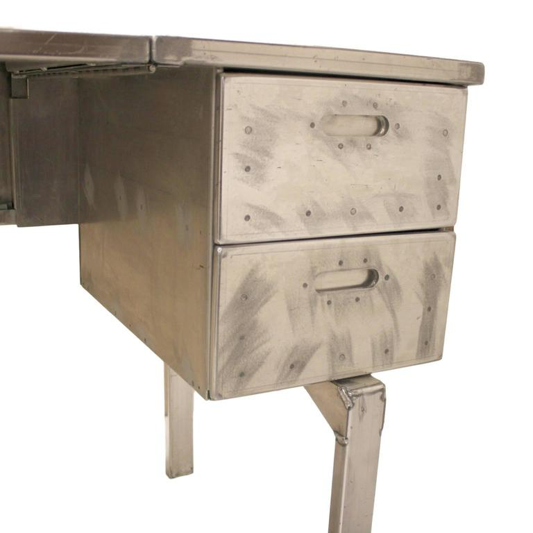 Late 20th Century Vintage Industrial Mid-Century Modern Aluminum Folding Desk For Sale