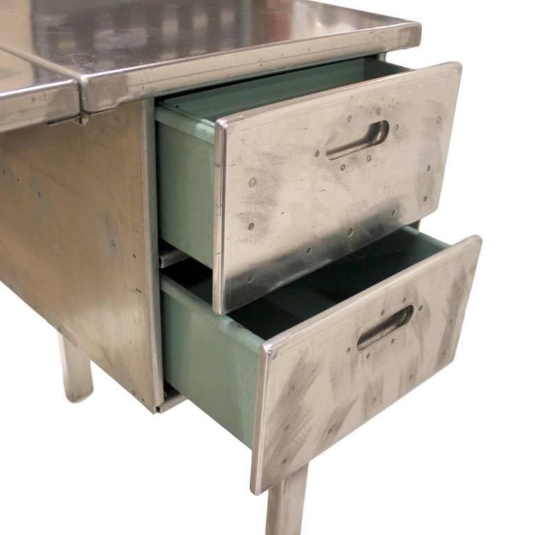 Vintage Industrial Mid-Century Modern Aluminum Folding Desk For Sale 1