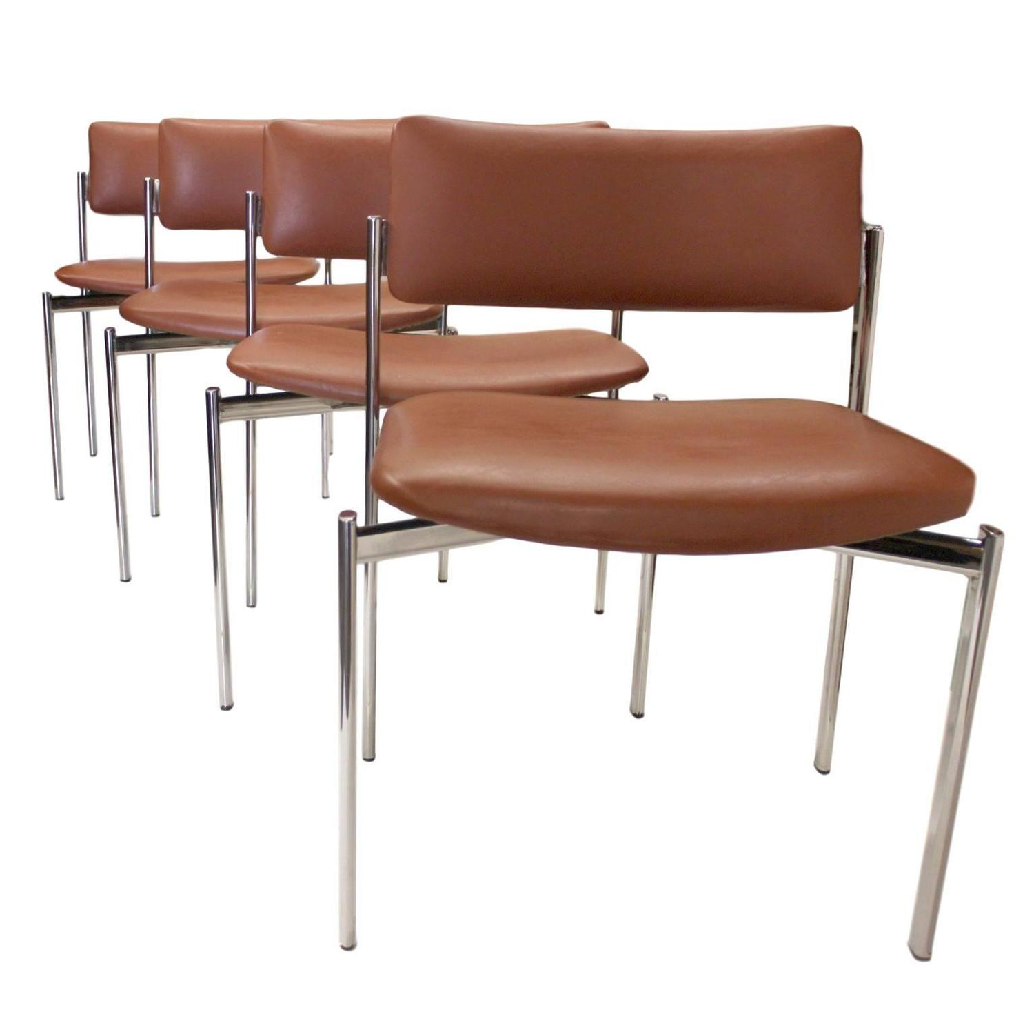 Eight Mid Century Modern Chrome Stacking Dining Side or Game
