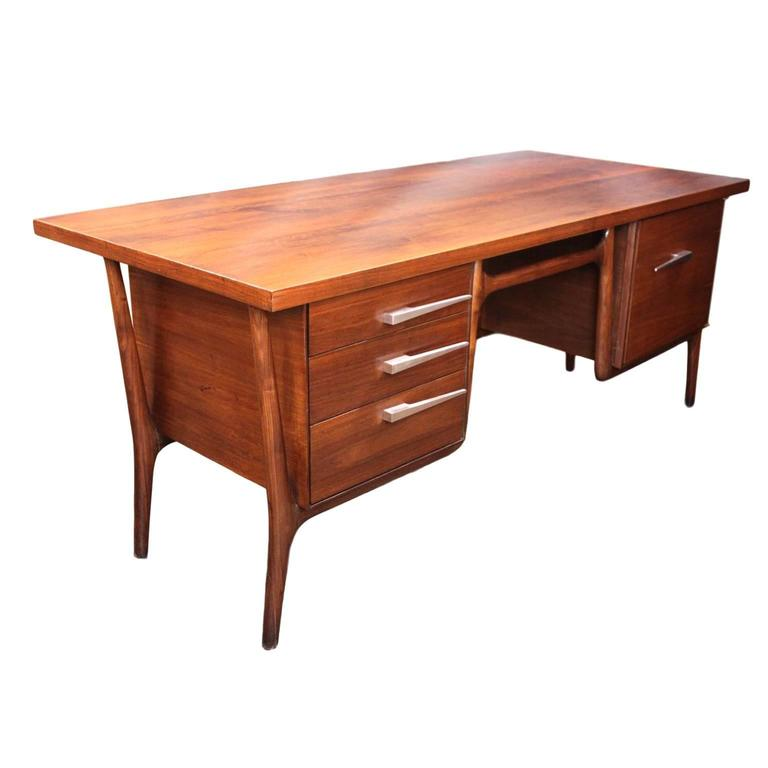 Iconic 1950s Mid Century Modern Walnut Executive Desk By Leopold Co For
