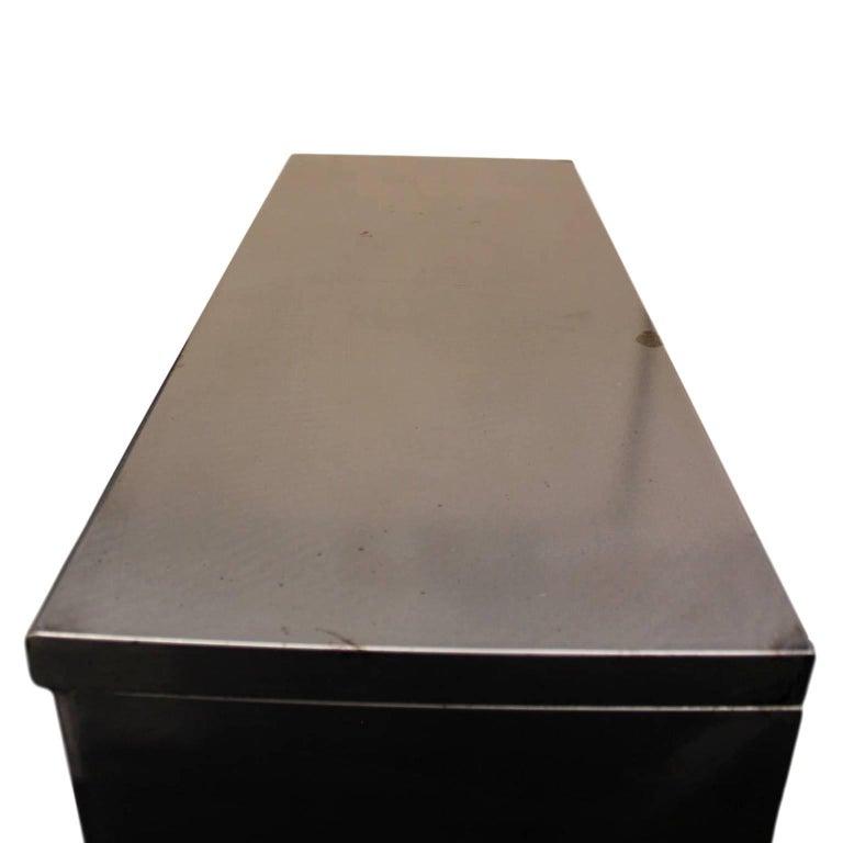 Vintage Mid-Century Modern Streamlined Industrial Steel Bookcase Display Case For Sale 1