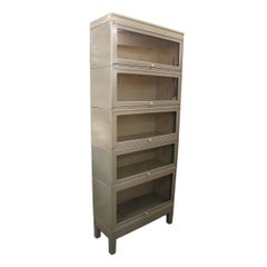 Vintage 1960s Industrial Five Stack Gray Metal Barrister Bookcase
