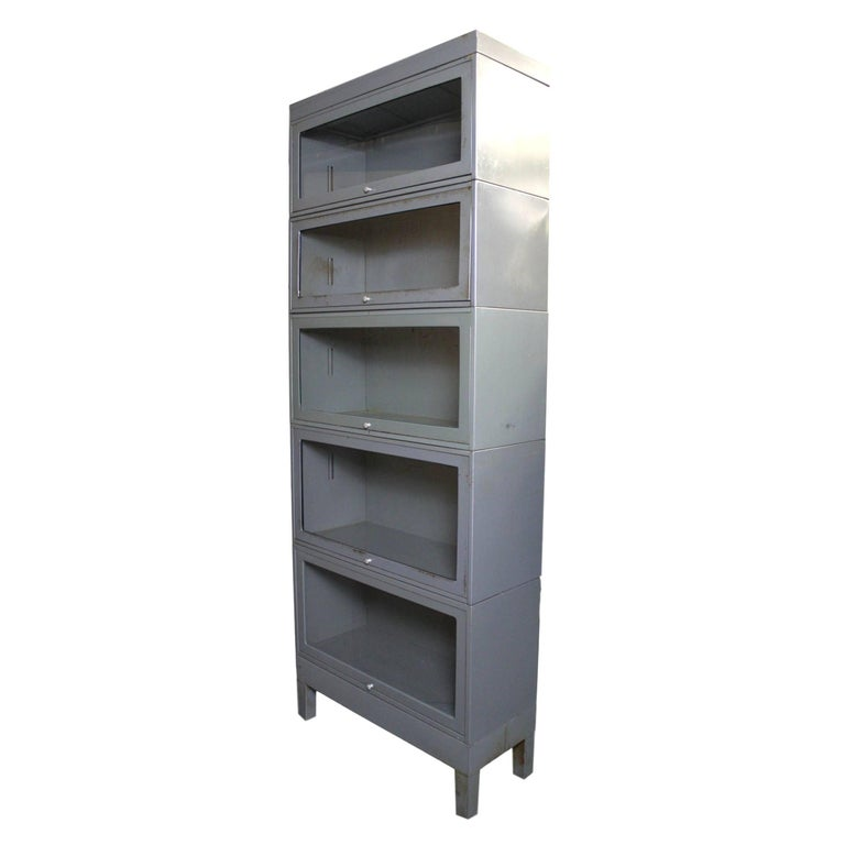 Vintage 1960s Five Stack Gray Metal Barrister Bookcase For