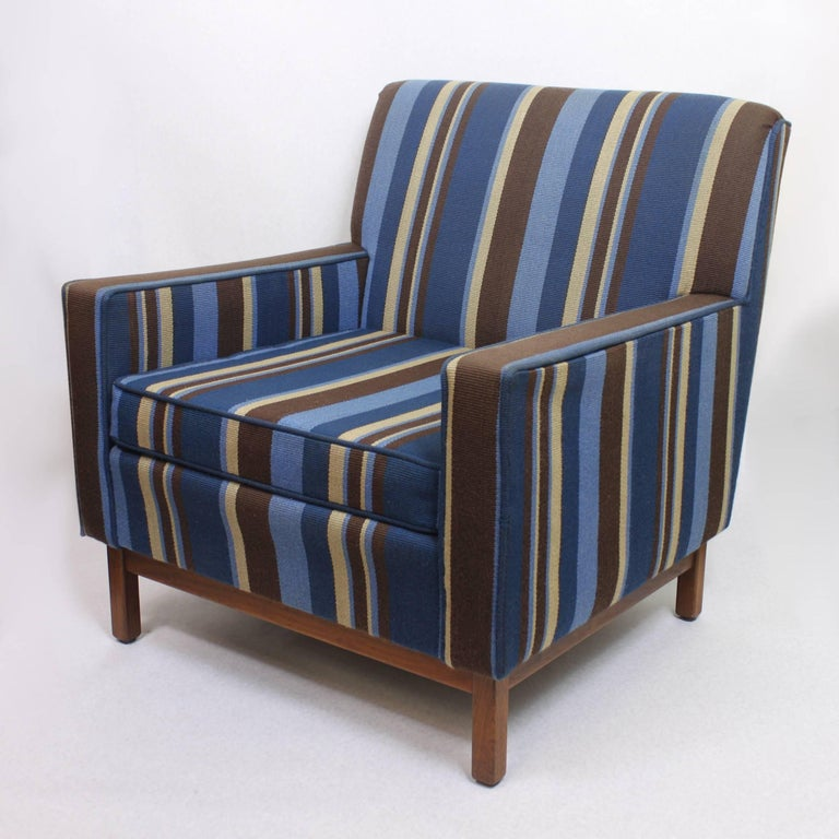 American Spectacular Pair of Mid-Century Modern Blue Striped Lounge Chairs by Gunlocke For Sale