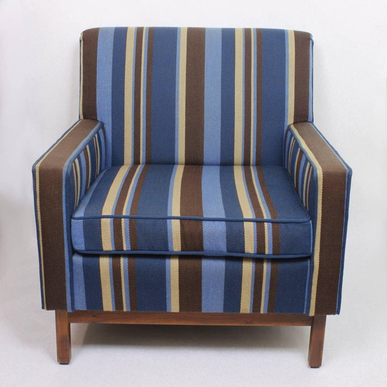 Spectacular Pair of Mid-Century Modern Blue Striped Lounge Chairs by Gunlocke For Sale 2