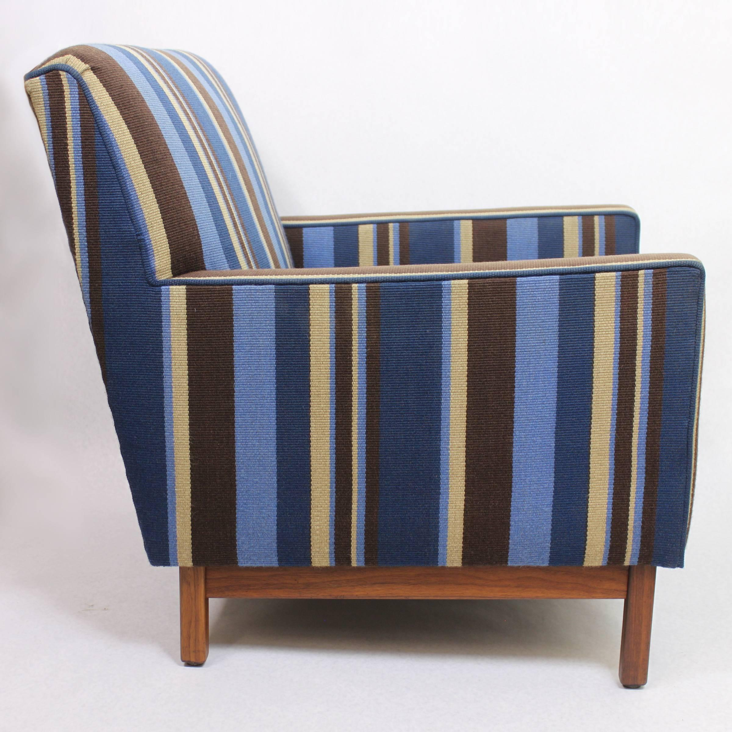 Mid 20th Century Spectacular Pair Of Mid Century Modern Blue Striped Lounge  Chairs By