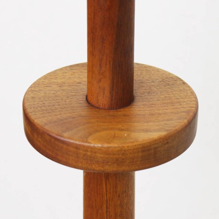 Inlay Vintage Mid-Century Modern Walnut & Ceramic Floor Lamp by Martz Marshall Studios For Sale