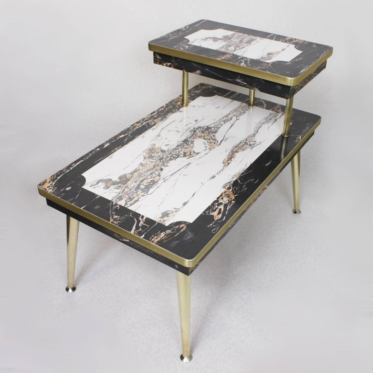 Pair Of Matching MidCentury Modern Black And White FauxMarble And - Marble and brass end table