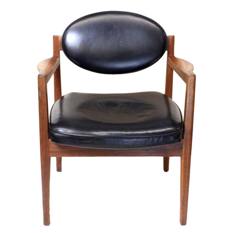 6c140a810def1 ... Jens Risom In. Mid-20th Century Pair of Mid-Century Modern Black  Leather Oval-Back Armchairs