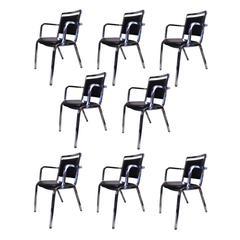 Set of Eight Mid-Century Modern Emeco Model 1814 Chrome / Vinyl Dining Chairs