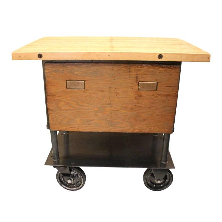 Vintage 1940s Industrial Machinist\'s Cabinet Maple Butcher Block Kitchen  Island