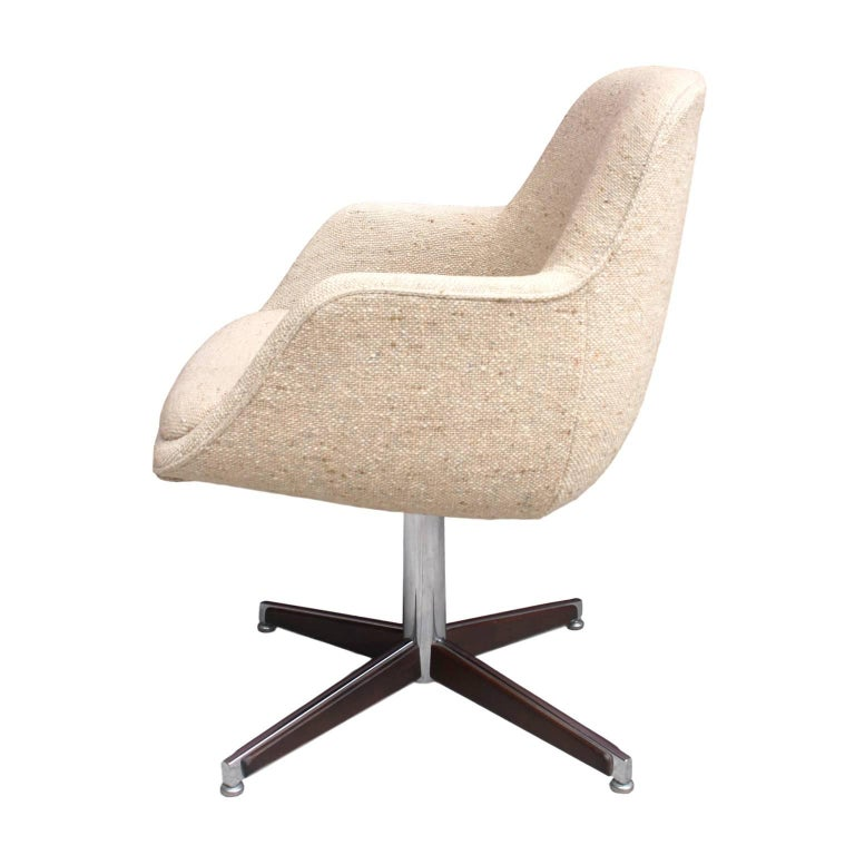 Mid Century Modernist High Back Or Desk Chair W New: 1960s, Mid-Century Modern Walnut And Chrome Desk Chair