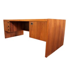 Mid-Century Modern Minimalist Walnut Executive Desk and Cabinet by Jens Risom