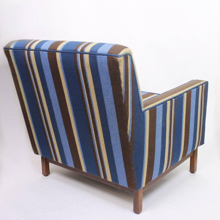 Spectacular Pair of Mid-Century Modern Blue Striped Lounge Chairs by Gunlocke For Sale 4