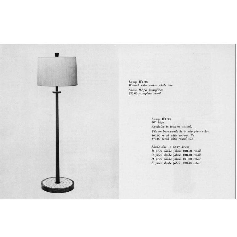 Mid-20th Century Vintage Mid-Century Modern Walnut & Ceramic Floor Lamp by Martz Marshall Studios For Sale