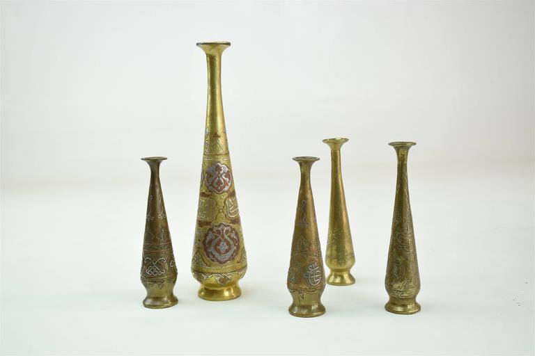 19th Century Antique Islamic Syrian Single Flower Vases, Set of Five In Good Condition For Sale In Paris, FR