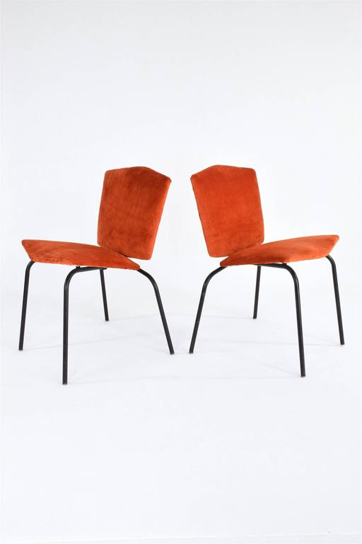 Pair of French Mid-Century Velvet Chairs 4