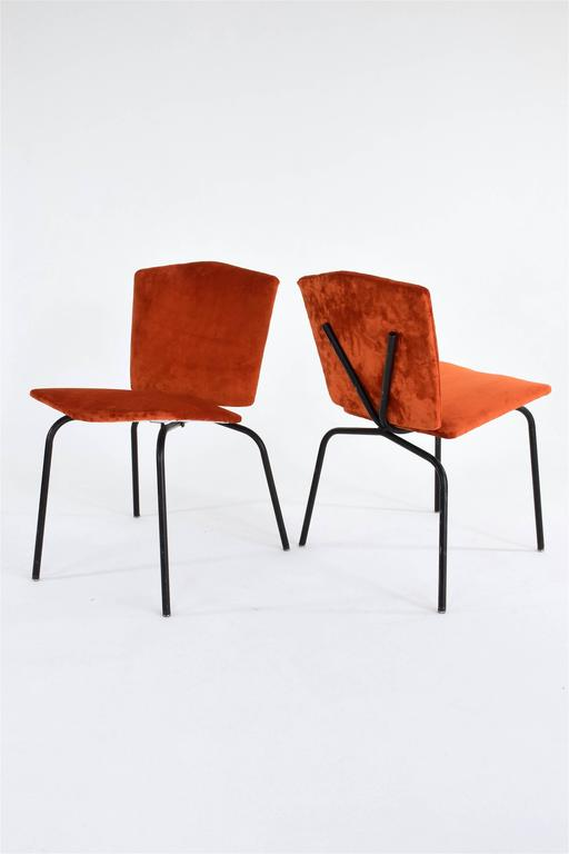 Pair of French Mid-Century Velvet Chairs 3
