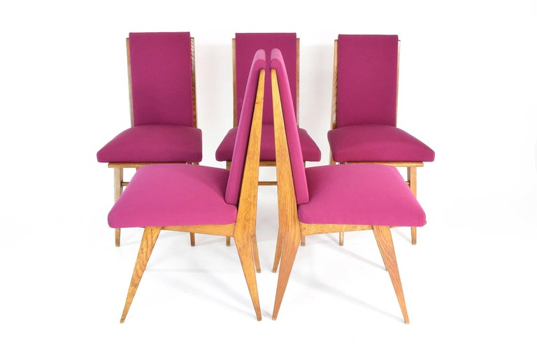20th Century French Art Deco Dining Chairs, Set of Five, 1940s For Sale