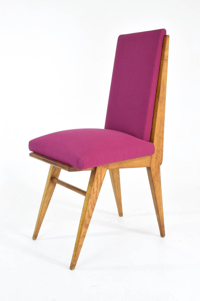 Upholstery French Art Deco Dining Chairs, Set of Five, 1940s For Sale