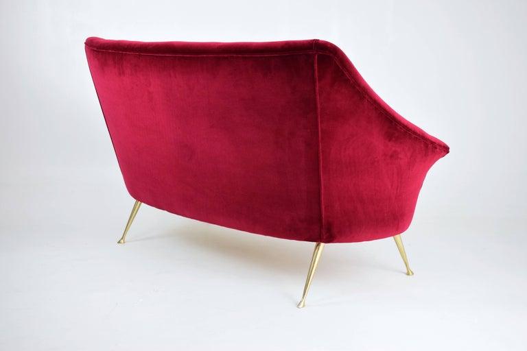 Brass  Italian Mid-Century Velvet Sofa, 1950s For Sale