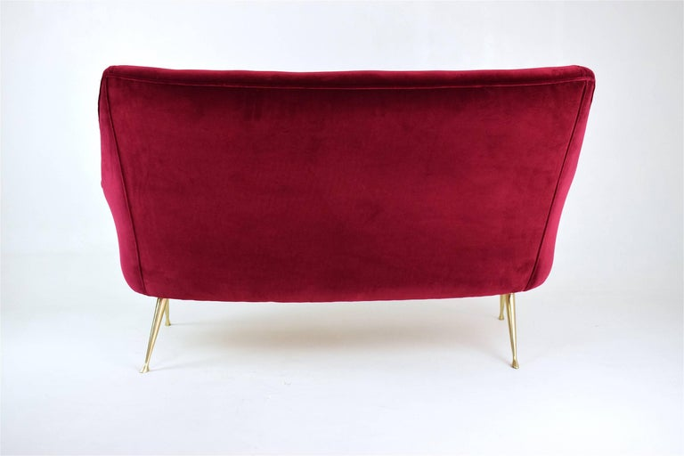 Brass  Italian Mid-Century Velvet Sofa In the Manner of Ico Parisi, 1950s For Sale