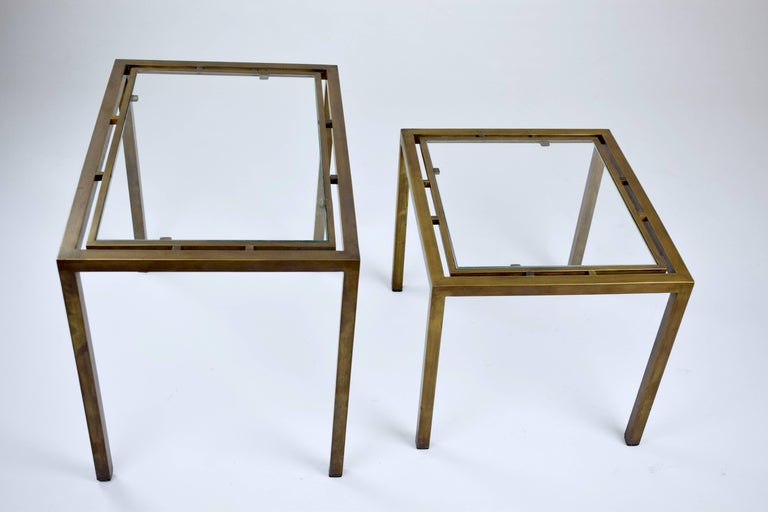 Mid-Century Modern Pair of French Brass Nesting Side Tables, 1970s