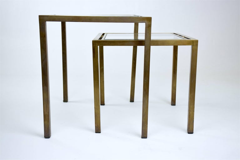 Patinated Pair of French Brass Nesting Side Tables, 1970s