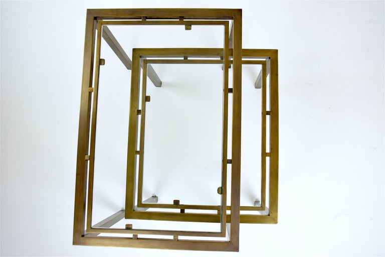 20th Century Pair of French Brass Nesting Side Tables, 1970s