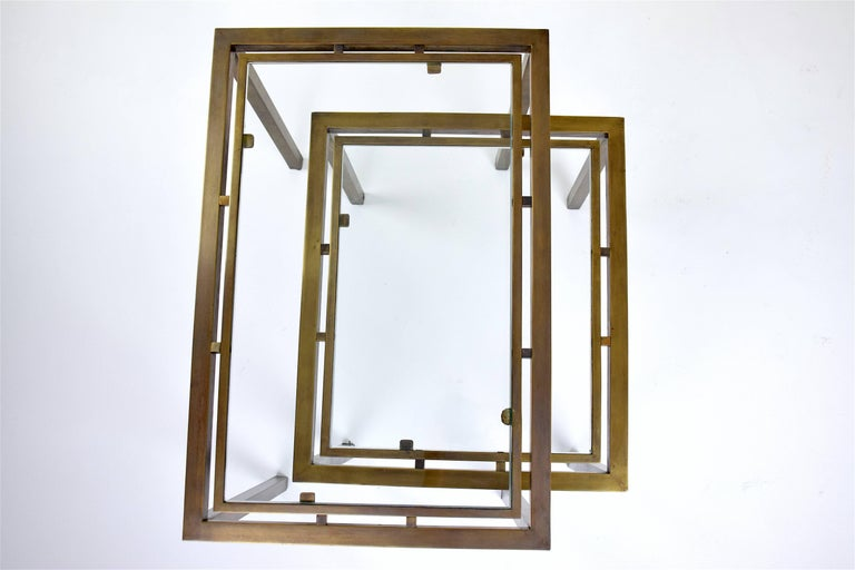 Pair of French Brass Nesting Side Tables, 1970s 1