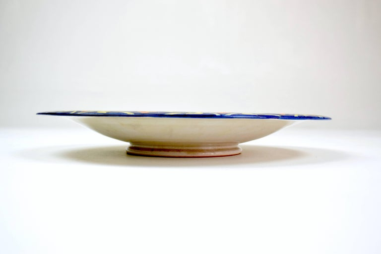 Italian Hand Painted Centerpiece Dish 1930 1940 For Sale