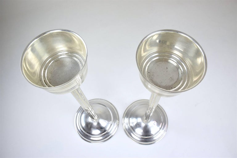 French Vintage Silver Plated Wine Bucket Stands, 1960s For Sale 3