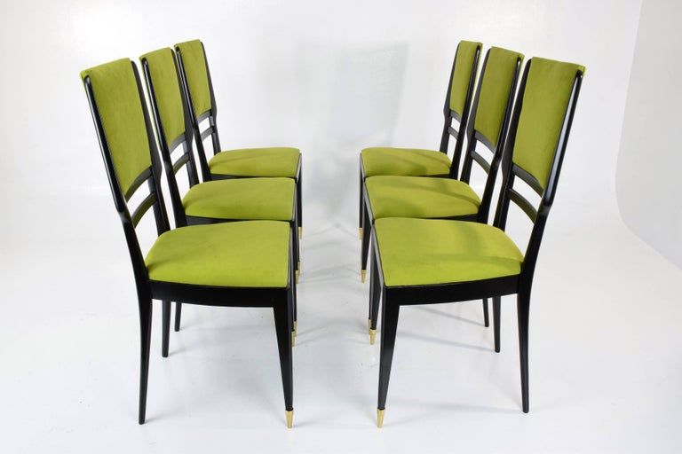 Mid-Century Modern Italian Midcentury Dining Chairs, Set of 6, 1950s For Sale