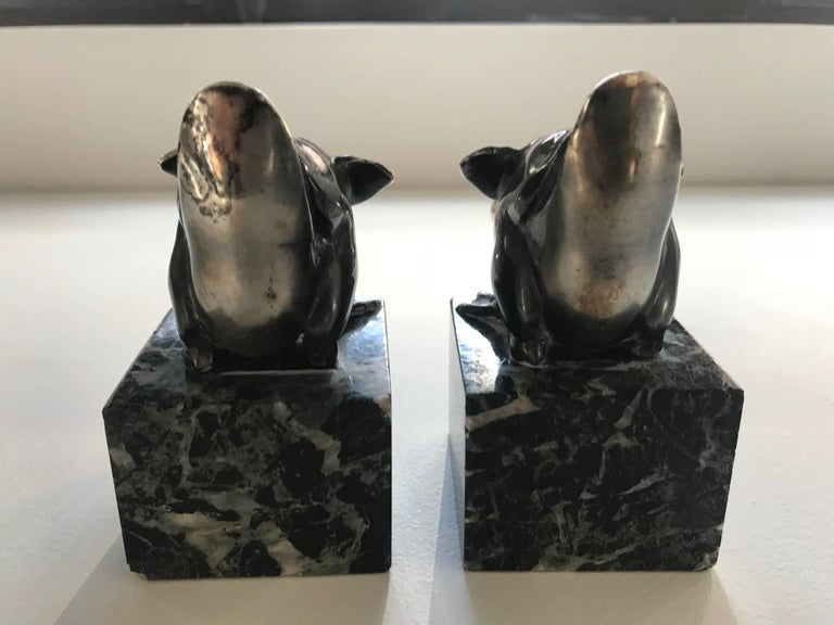 Marble Pair of Art Deco Bookends by Rischmann, 1930s For Sale