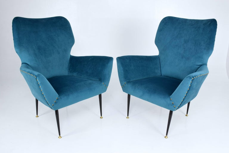 Pair of Italian Mid-Century Vintage Armchairs, 1950s For Sale 1